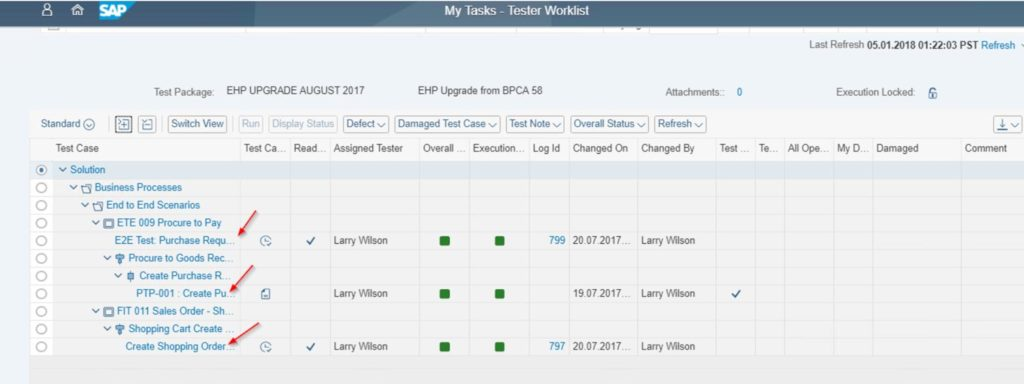 SAP SolMan Test Suite - Tester Worklist