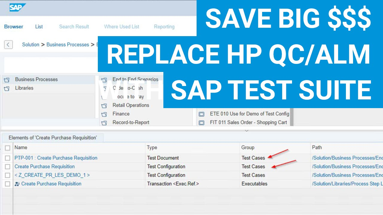 SAP Workshops | Save big $ - Replace HP QC/ALM with SAP's Test Suite